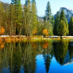 Half Dome and the Merced in fall (YOS-024)